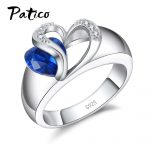 PATICO Blue CZ Crystal 925 Sterling Silver Finger Ring Heart Cubic Zirconia Stone for Women Engagement Anniversary <b>Jewelry</b> Gifts