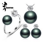 MINTHA Pearl Jewelry Fine wedding engagement jewelry sets Natural Pearl pendant Necklace women/stud <b>Earrings</b>,crown ring