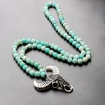 2018 Boho <b>Jewelry</b> White Resin Bullfighting Micro Pave Crystal Pendant Matte AB+Amazonite Mala Beads Vintage Tribe Bff Necklace
