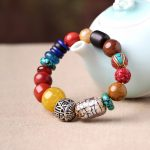 Ethnic wind <b>bracelets</b> men and women decorations green agate 925 <b>silver</b> ball Duobao string original jewelry