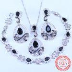925 <b>Silver</b> Bridal Jewelry Black Crystal Cubic Zircon Jewelry Sets For Women Drop Earrings/Pendant/Necklace/<b>Bracelet</b>