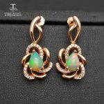 TBJ,Romantic flower <b>earring</b> with natural ethiopian opal in 925 sterling <b>silver</b> rose gold color gemstone <b>earring</b> for women girls