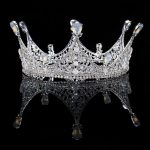 Vintage Baroque Silver Crystal Round Queen Princess Crown For Wedding tiara Hair <b>Jewelry</b> Handmade Bride Hair Accessories