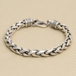 wholesale manufacturers S925 <b>silver</b> personalized jewelry Thai <b>silver</b> retro Mens Large twist <b>bracelet</b> peace lines