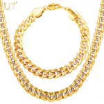 U7 Men <b>Jewelry</b> Set Two Tone Gold Color Hip Hop Trendy 9MM Chunky Big Cuban Link Chain Necklace And Bracelet Set S823