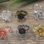 100pcs 18*7mm Flower Pad ring blank Cameo Tray,AntiqueBronze/Gold/Silver Ring setting,<b>Handmade</b> DIY Zakka <b>jewelry</b> Finding