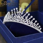 Gorgeous Zircon Plated Crystal Tiaras Crowns for Brides Zircon Brides Hairbands Evening Hair Accessories <b>Wedding</b> <b>Jewelry</b>