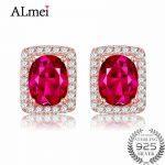Almei Natural Red Topaz 925 Solid Sterling <b>Silver</b> Women Dazzling Princess Rose Gold Color <b>Earrings</b> Stud with Free Box 40% FR012