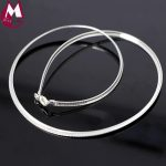 100% Real Sterling <b>Silver</b> <b>Necklace</b> Minimalism Torques Choker <b>Necklace</b> For Women Girl Snake Chain Fine Jewelry New Arrival SN16