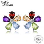 JewelryPalace Flower 4.3ct Multicolor Natural Amethyst Citrine Garnet Peridot Blue Topaz Stud <b>Earrings</b> Solid 925 Sterling <b>Silver</b>