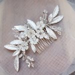 Dower me Fashion Bridal Silver Leaf Hair Comb Women Flower Hair <b>Jewelry</b> Accessories For <b>Wedding</b> Party Prom Crystal Headpiece