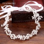 TUANMING New Arrival 1PC Wedding Hair Accessories Bridal Silver Headbands Simulated Pearl Rhinestone Hair <b>Jewelry</b> For Women