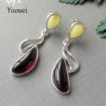 Yoowei Natural Amber <b>Earring</b> for Women Poland Imported Luxurious Beewax Blood Drop <b>Earring</b> European Style Designer Amber Jewelry