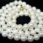 Fashion 7-8mm white akoya cultured natural round pearl beads diy beautiful necklace <b>making</b> 34 inch gold-color clasp MY4510