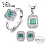 JewelryPalace 1.4ct Square Nano Russian Simulated Emerald Ring Stud Earrings Pendant Necklace <b>Jewelry</b> Sets 925 <b>Sterling</b> <b>Silver</b>