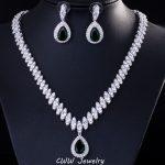 CWWZircons Fashion Wedding Party Jewelry Water Drop Dark Blue <b>Silver</b> Color Bridal Crystal Necklace <b>Earring</b> Sets For Women T213