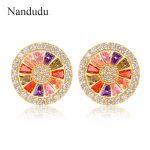 Nandudu Fashion Round Austrian Crystal Stud Earrings Women Girl <b>Jewelry</b> <b>Accessories</b> Ear Stud Earring Gift CE169