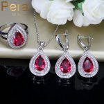 Pera 3 Piece Trendy Summer Party Banquest <b>Jewelry</b> Set Indian Red Cubic Zirconia Big Pear Cut Long Dangle Necklace For Women J203