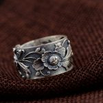 FNJ 925 Silver Flower Ring Fashion 100% Real S925 Sterling Thai Silver Rings for Women <b>Jewelry</b> Adjustable Size