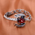 925 Sterling <b>Silver</b> Vintage Thai Retro Men Male Jewelry Synthesis Garnet Phoenix Charm <b>Bracelets</b> CH014902