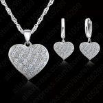 Jemmin Fine 925 Sterling <b>Silver</b> Heart Diamond Bridal Wedding Jewelry Set For Women Pendant Necklace <b>Earring</b> Set Bijoux