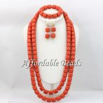 Nigerian Wedding Coral Beads <b>Jewelry</b> Sets Simple Coral Beads Necklace Set Free Shipping <b>Handmade</b> Design CN124