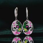 RainMarch 925 Sterling Silver Earrings Enamel <b>Handmade</b> Flower Engagement Earring For Women Cubic Zirconia Party <b>Jewelry</b>