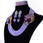 Women's <b>Jewelry</b> Set Crystal African Bridal Wedding <b>Jewelry</b> Nigeria Purple Blue <b>Jewelry</b> <b>Handmade</b> Beaded Necklace frees Shipping