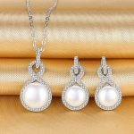 Bella Fashion 925 <b>Sterling</b> <b>Silver</b> Infinity Bridal Necklace Earrings Set Cubic Zircon Freshwater Cultured Pearl <b>Jewelry</b> Set Party
