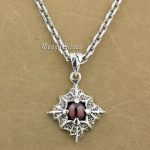 925 Sterling <b>Silver</b> Prismatic Claw Red CZ Stone Pendant 9S104A 92.5% Sterling <b>Silver</b> <b>Necklace</b> 24 inches