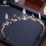 CC Tiaras And Crowns Vintage Baroque Style Forest Style Engagement <b>Wedding</b> Hair Accessories For Bride <b>Jewelry</b> Leaf Shape XY051