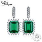 JewelryPalace 9ct Created Emerald Elegant <b>Earrings</b> Drop 925 Sterling <b>Silver</b> 2018 Fashion Luxury Wedding Bride Jewelry For Women
