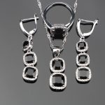 Long Square <b>Handmade</b> 925 Sterling Silver Black Stones White CZ <b>Jewelry</b> Sets For Women Ring Size 6/7/8/9/10