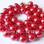 Beautiful 12mm red round shell simulated-pearl beads chain rope necklace for women <b>jewelry</b> <b>making</b> free shipping 18inch MY2025