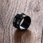 Mens Finger Rings in Black Stainless Steel SLR Telephoto Spinner Ring Lens Focus Band Male <b>Jewelry</b> Photographers Accessories