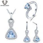 Double-R 3.33ct Real Blue Topaz 925 Sterling <b>Silver</b> drop <b>earrings</b> Ring women pendant Jewelry Sets <b>Silver</b> Chain Women gift