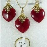 Women's Wedding Red gem Necklace Earrings Ring Set 5.23 silver- moda real silver-<b>jewelry</b>