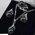 Prett Lovely Women's Wedding Beautiful <b>Jewelry</b> REAL BLACK PERAL Pendant Necklace Earring Set 5.23 silver <b>jewelry</b> brinco