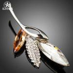 AZORA Shinning Large Luxury CZ Plant Leaf Brooches and Pins for Women <b>Fashion</b> <b>Jewelry</b> Austrian Crystals Banquet Brooch TP0053