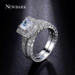 NEWBARK Rings Set for Women Silver Color Big 1.5ct Princess Cut CZ Engagement Ring Wedding <b>Jewelry</b> Anillos Casamento Anel