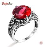 Szjinao Fashion African Compatible Brand 925 Sterling <b>Silver</b> Ring Authentic European Women Punk Red Ruby Ring Vintage <b>Jewelry</b>