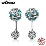 WOSTU Hot Sale Authentic 925 Sterling Silver Green Radiant Leaves Drop Earrings For Women <b>Fashion</b> Brand <b>Jewelry</b> Gift CQE087