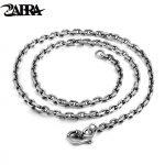 ZABRA Solid 925 <b>Sterling</b> <b>Silver</b> 4mm 4 Style 50-80cm Men Long Chain Necklaces Vintage Steampunk Retro <b>Sterling</b> <b>Silver</b> <b>Jewelry</b>