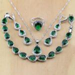 925 Sterling Silver Water Drop Green Created Emerald White CZ Women <b>Jewelry</b> Sets Earrings/Pendant/Necklace/Rings/Bracelet