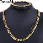 Trendsmax Brand <b>Jewelry</b> Set 9mm Gold/Black Color Men Chain Stainless Steel Necklace Bracelet Curb Link <b>Fashion</b> Hot KS200 KS202