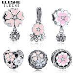 Fit ELESHE Charm Bracelet DIY Pink Enamel&CZ Poetic Blooms Beads Original 925 Sterling Silver Charm Authentic <b>Jewelry</b> <b>Making</b>