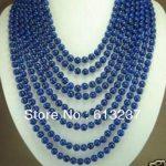 """Fashionable style 8 rows 6mm Blue Lapis lazuli <b>jewelry</b> <b>making</b> necklace 17-24 """"ye2072"""