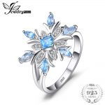 JewelryPalace Promotion 0.8ct Snowflake Genuine Blue Topaz Ring Solid 925 Sterling <b>Silver</b> Fine <b>Jewelry</b> Fashion Gift For Women