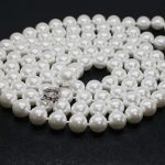 High grade white simulated-pearl shell 8mm round beads trendy long chain necklace for women <b>making</b> 48inches GE4575