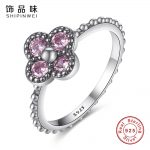 Shipinwei Authentic 100% 925 Sterling Silver Ring Dazzling Pink CZ Flower Rings for Women Luxury Wedding <b>Jewelry</b> <b>Accessories</b>